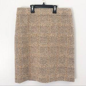 J Crew Wool Mix Mustard Yellow Plaid Pencil Skirt